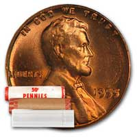 Lincoln Wheat Cent Roll 1955