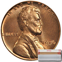 Lincoln Wheat Cent Roll 1956