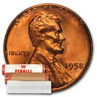 Lincoln Wheat Cent Roll 1958