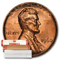 Lincoln Memorial Cent 1960 BU Roll