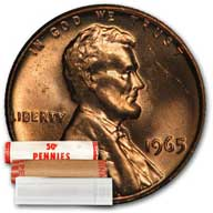 Lincoln Memorial Cent 1965 BU Roll