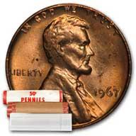 Lincoln Memorial Cent 1967 BU Roll