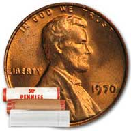 Lincoln Memorial Cent 1970 BU Roll