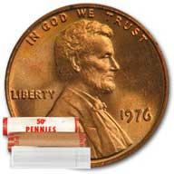 Lincoln Memorial Cent 1976 BU Roll
